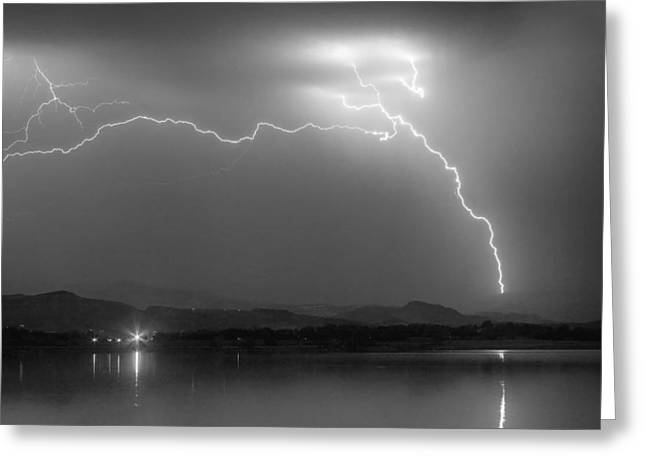 Electrical Arcing Night Sky  Greeting Card by James BO  Insogna