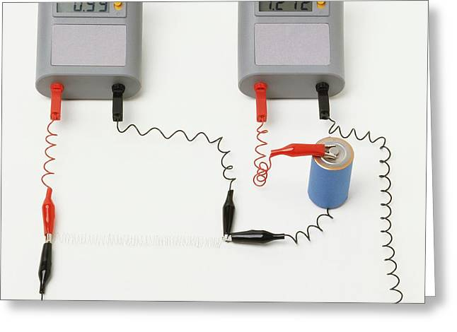 Electrical Circuit With Ammeter Greeting Card