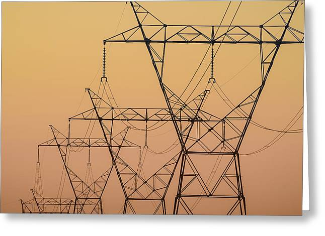 Electrical Transmission Towers Greeting Card by Tom Patrick