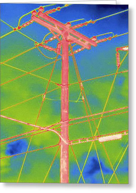 Electrical Wires And Pole, Thermogram Greeting Card
