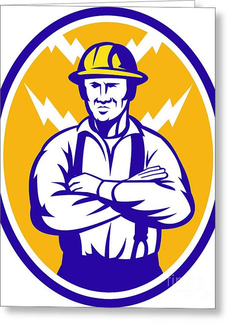 Electrician Construction Worker Lightning Bolt Greeting Card by Aloysius Patrimonio