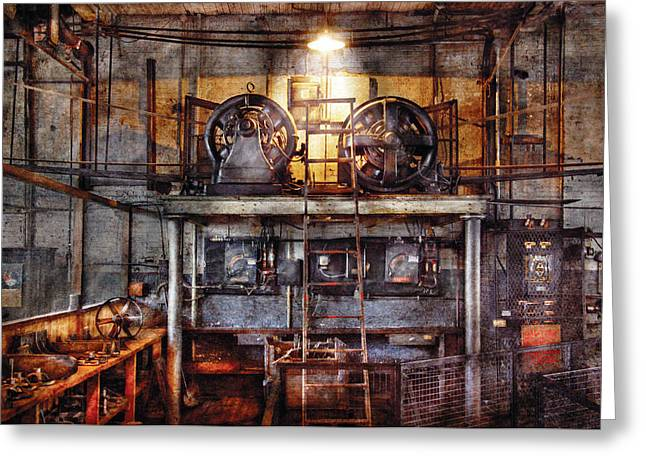 Electrician - Turbine Station Greeting Card by Mike Savad