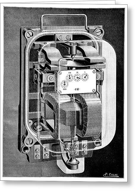 Electricity Meter Greeting Card by Science Photo Library