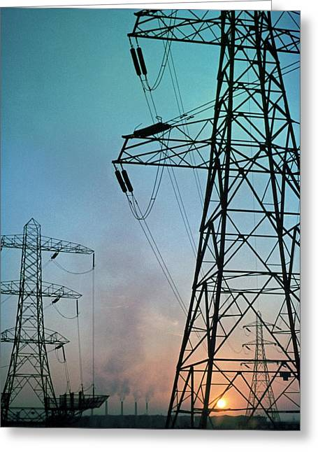 Electricity Pylons At Sunset Greeting Card