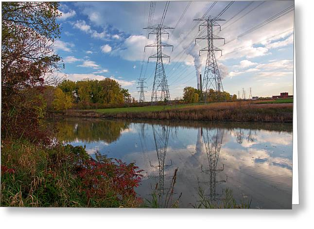 Electricity Pylons By A Lake Greeting Card