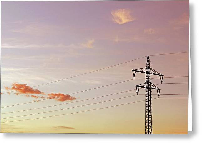 Electricity Wires And Pylon Greeting Card