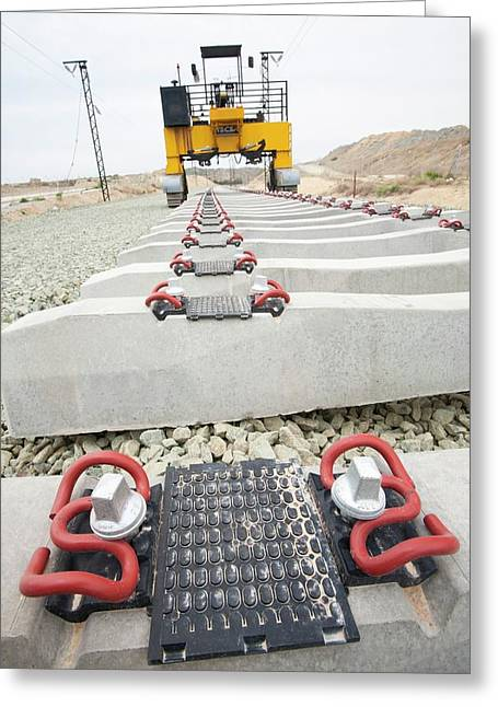 Electrified Railway Line Being Built Greeting Card