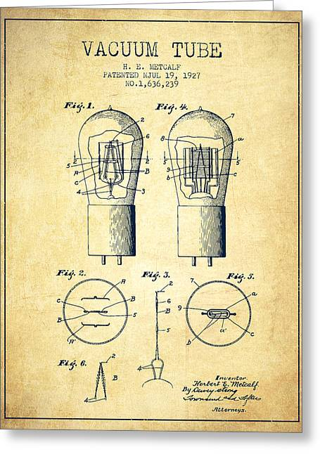 Electrode Vacuum Tube Patent From 1927 - Vintage Greeting Card by Aged Pixel