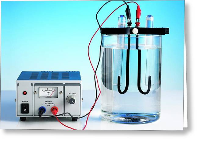 Electrolysis Of Water Greeting Card by Science Photo Library