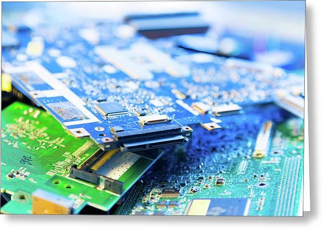 Electronic Printed Circuit Boards Greeting Card by Wladimir Bulgar