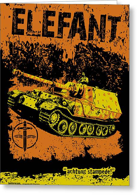 Elefant Tank Greeting Card by Philip Arena