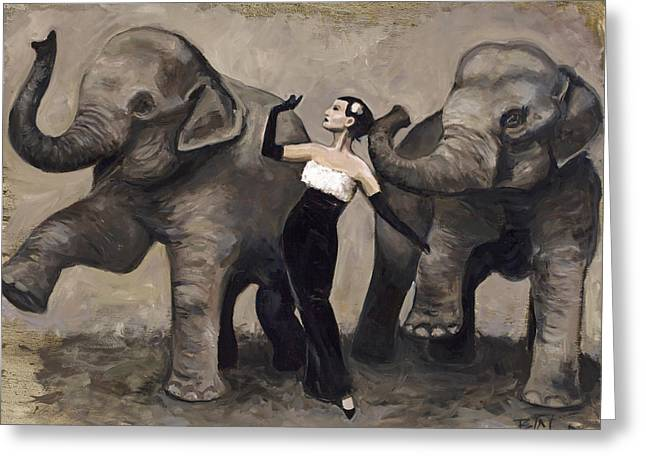 Elegance And Elephants Greeting Card