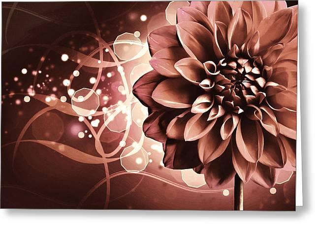 Elegant Burning Dahlia Greeting Card by Georgiana Romanovna