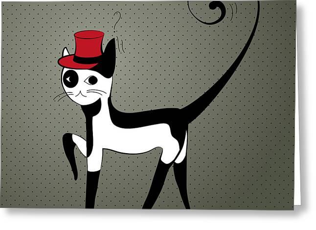 Elegant Decorative Cat Greeting Card by Salenko