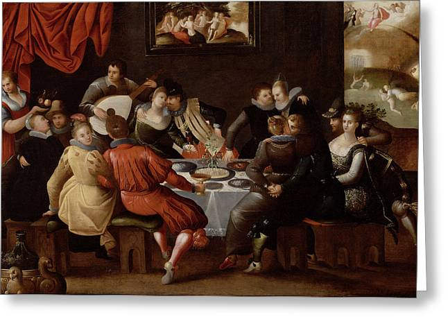 Elegant Figures Feasting And Disporting Greeting Card by Hieronymus II Francken