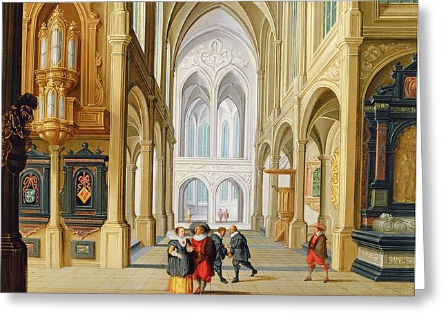 Elegant Figures In A Gothic Church Greeting Card by Dirck Van Deelen