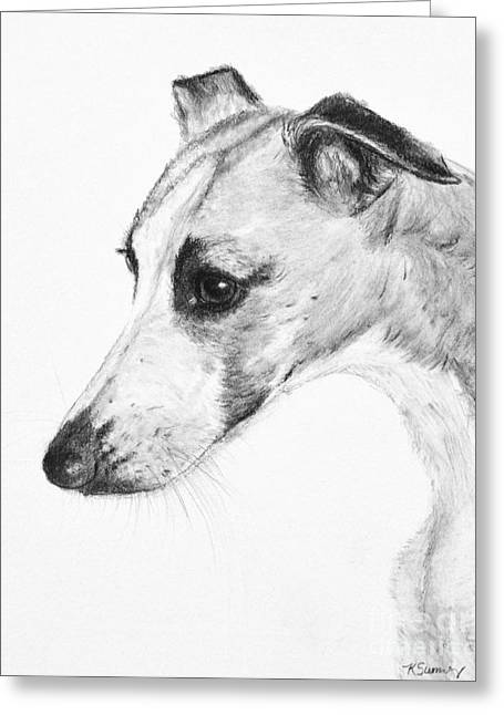 Elegant Whippet Greeting Card by Kate Sumners