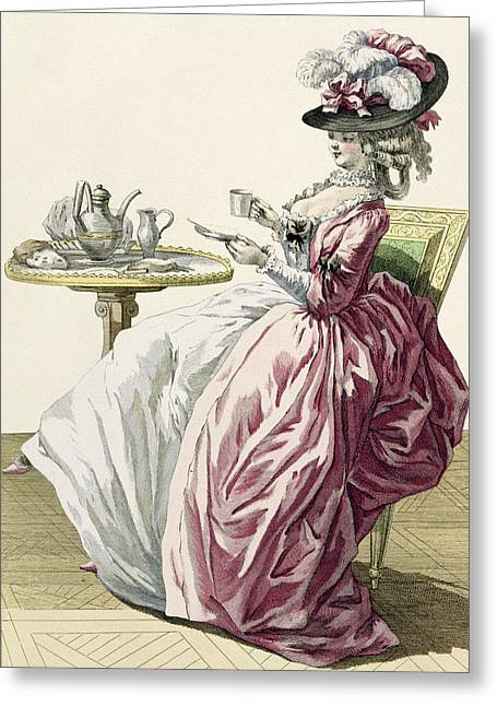 Elegant Woman In A Dress A Langlaise Greeting Card by Pierre Thomas Le Clerc