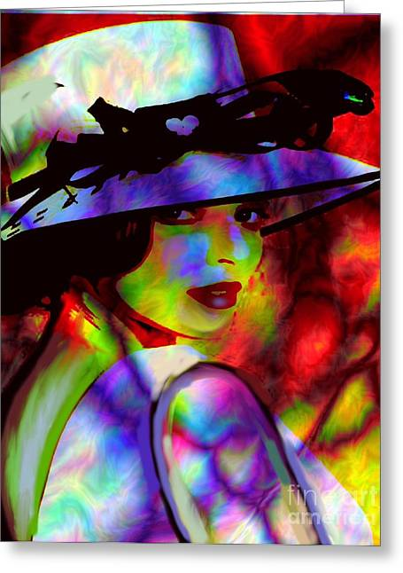 Elegant Woman In Shade Greeting Card