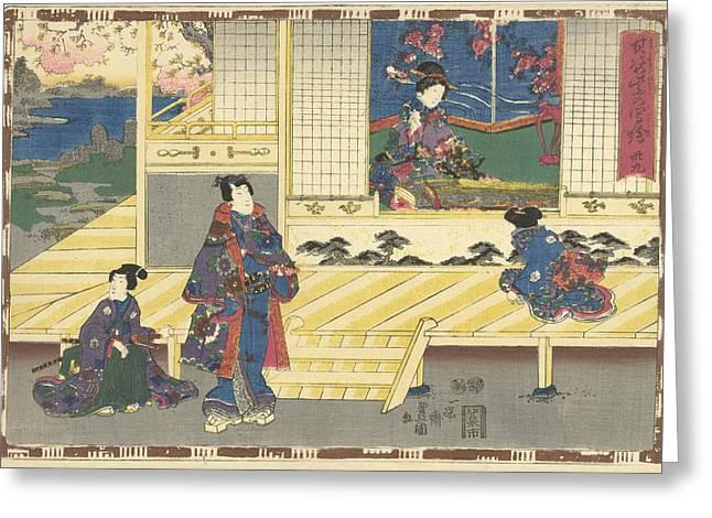 Elegantly Dressed Man Standing On Porch, Looking At Woman Greeting Card by Kunisada (i) And Utagawa And Kinugasa Fusajiro And Murata Heiemon