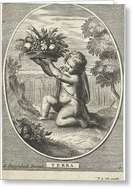 Element Earth As A Child With Bowl Of Fruit And Vegetables Greeting Card by Cornelis Van Dalen Ii And Anonymous And Frederik De Wit