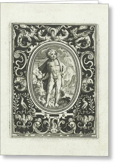 Element Fire As A Young Man Standing With Thunderbolt Greeting Card by Nicolaes De Bruyn