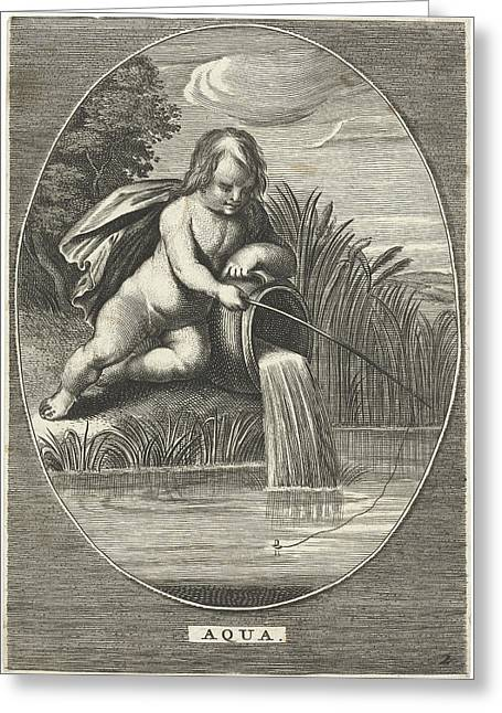Element Water As A Child With Fishing Rod Leaning On Jar Greeting Card by Cornelis Van Dalen (ii) And Anonymous And Abraham Van Diepenbeeck