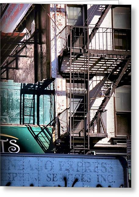 Elemental City - Fire Escape Graffiti Brownstone Greeting Card by Miriam Danar