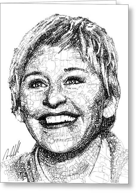 Ellen Degeneres Greeting Card by Michael Volpicelli