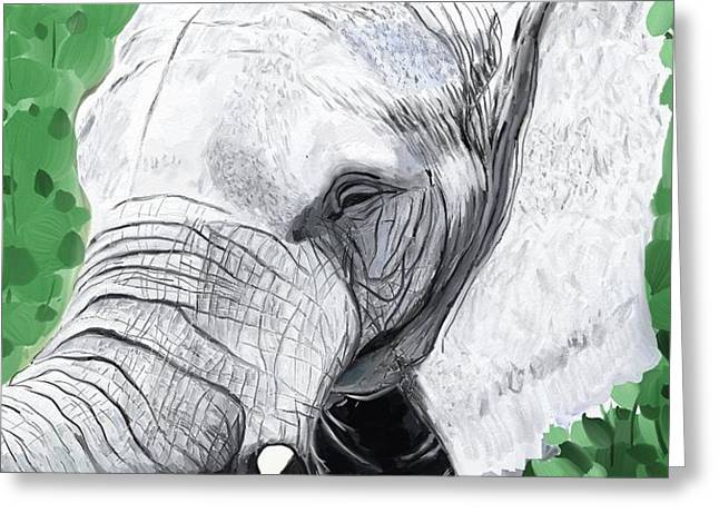 Greeting Card featuring the painting Elephant 1 by Jeanne Fischer
