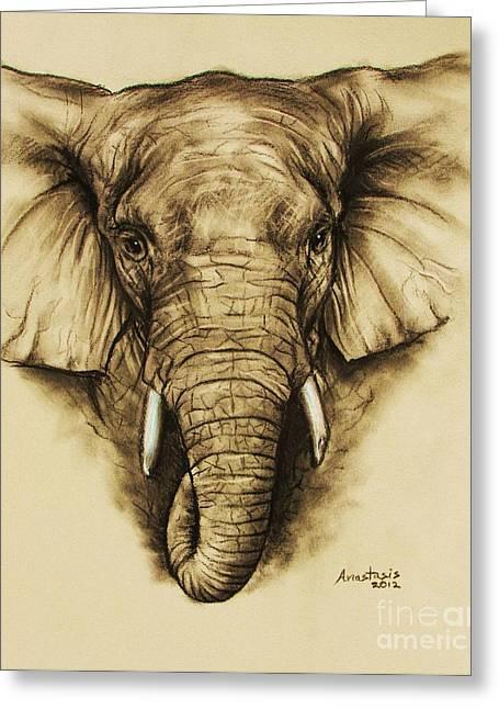 Elephant 2 Greeting Card by Anastasis  Anastasi