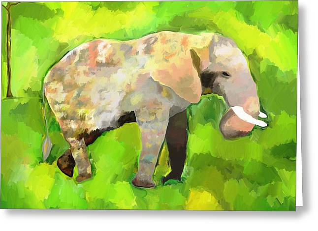 Greeting Card featuring the painting Elephant 4 by Jeanne Fischer
