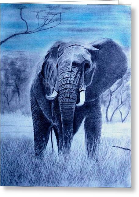 Elephant And Blue Sky Greeting Card