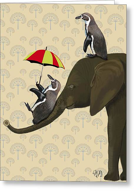 Elephant And Penguins Greeting Card by Kelly McLaughlan