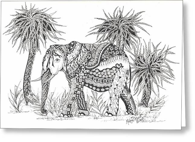 Elephant And Trees Zentangled Greeting Card