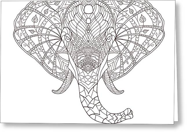 Elephant. Black And White Hand Drawn Greeting Card