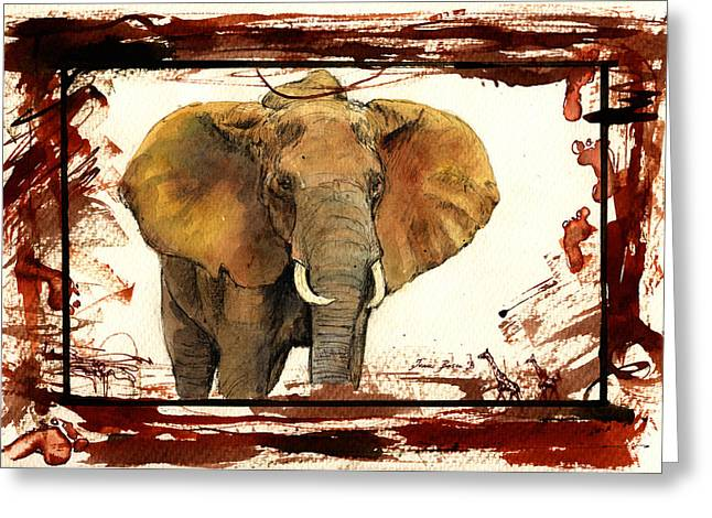 Elephant Blood Safari Greeting Card by Juan  Bosco