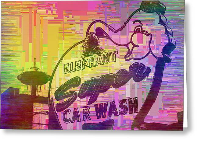 Elephant Car Wash Cubed Greeting Card by Tim Allen