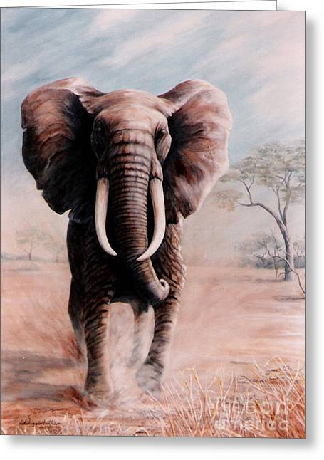 Greeting Card featuring the painting Elephant Charge by DiDi Higginbotham