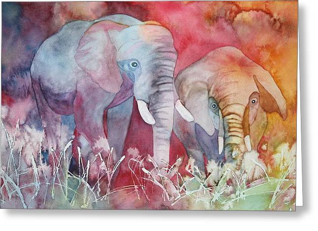 Elephant Duo Greeting Card by Nancy Jolley
