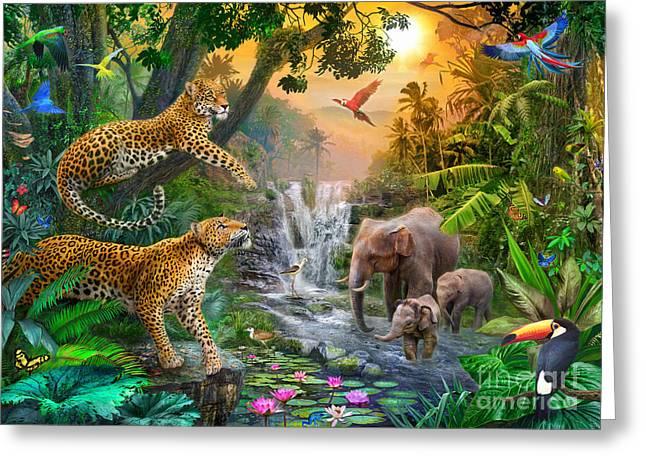 Elephant Falls Greeting Card by Jan Patrik Krasny
