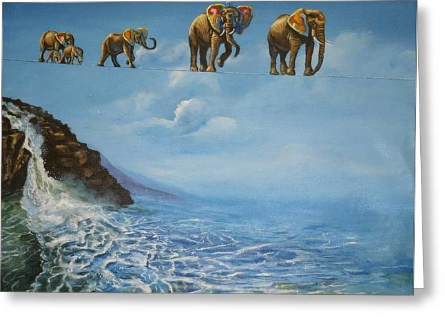 Elephant Family On A Tightrope Greeting Card by Barbara Gray
