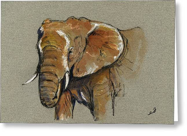Elephant Head African Greeting Card by Juan  Bosco