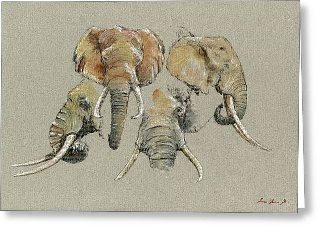 Elephant Heads Greeting Card
