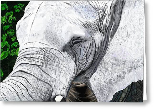 Greeting Card featuring the painting Elephant II by Jeanne Fischer