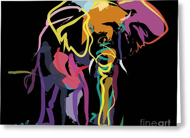 Elephant In Colour Greeting Card