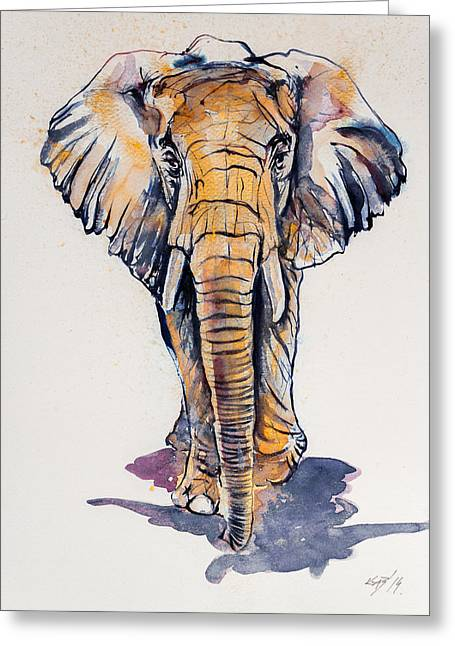 Elephant In Gold Greeting Card