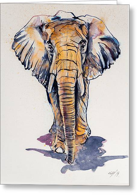 Elephant In Gold Greeting Card by Kovacs Anna Brigitta