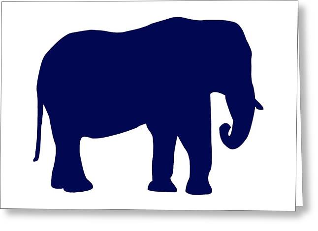 Elephant In Navy And White Greeting Card