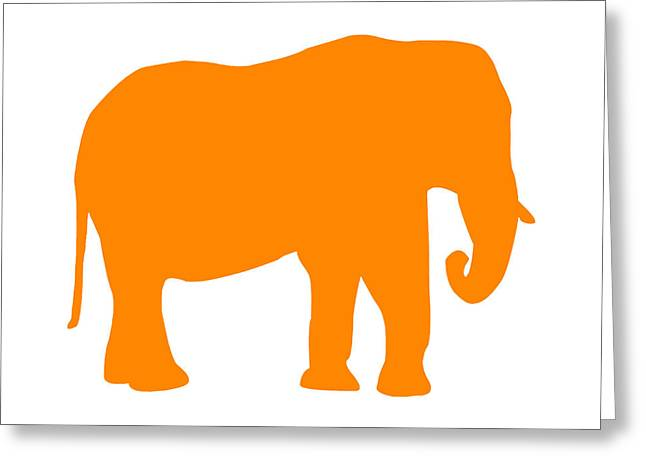 Elephant In Orange And White Greeting Card